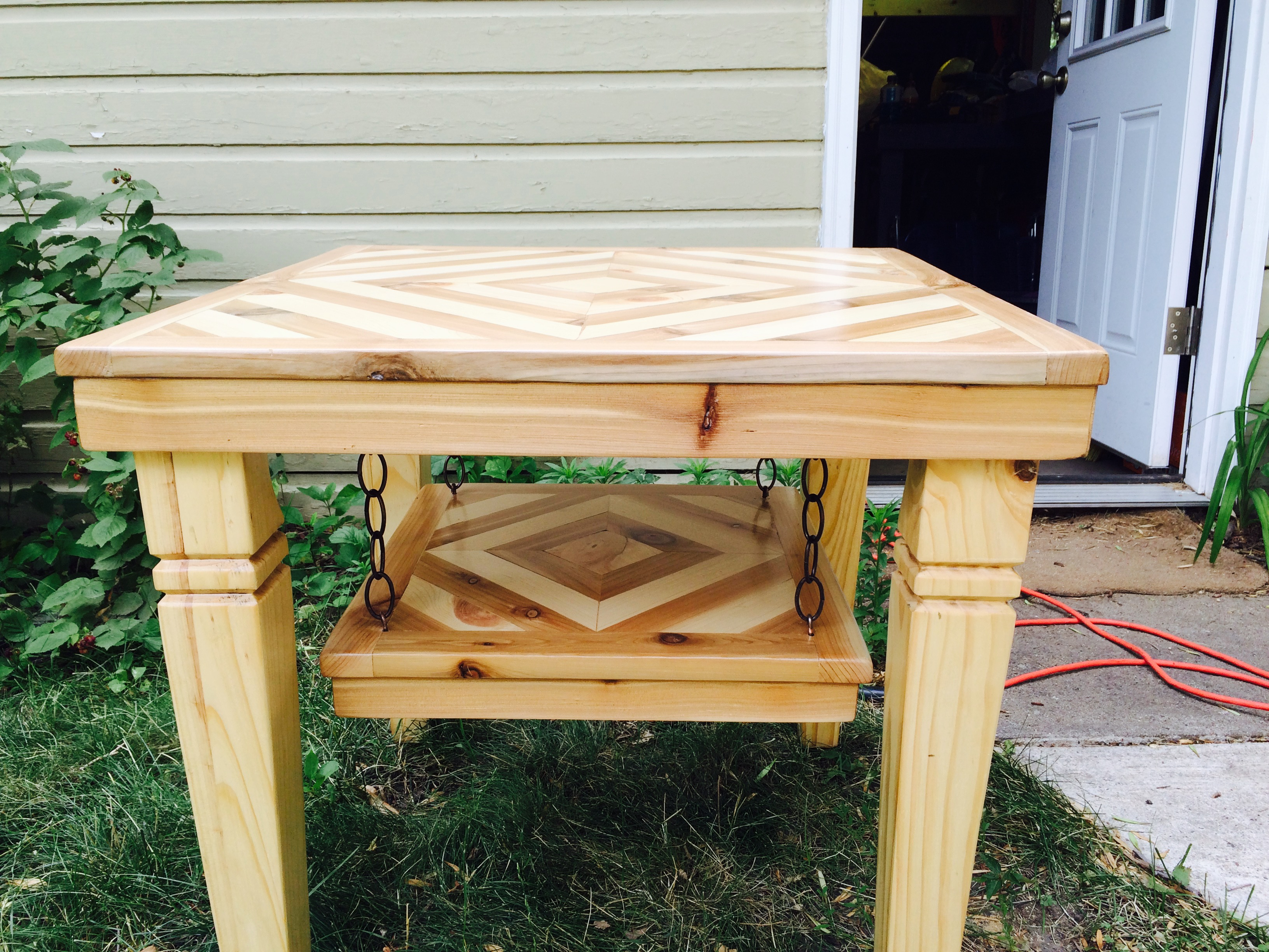 hand made cedar and pine end table with hanging shelf shelf can be removed for transportation or personal preference 24x24 23 tall - Hanging End Tables