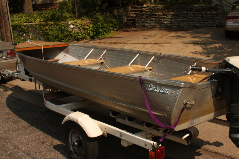 14 ft aluminum boat with good trailer free listing for for Fishing boats for sale mn