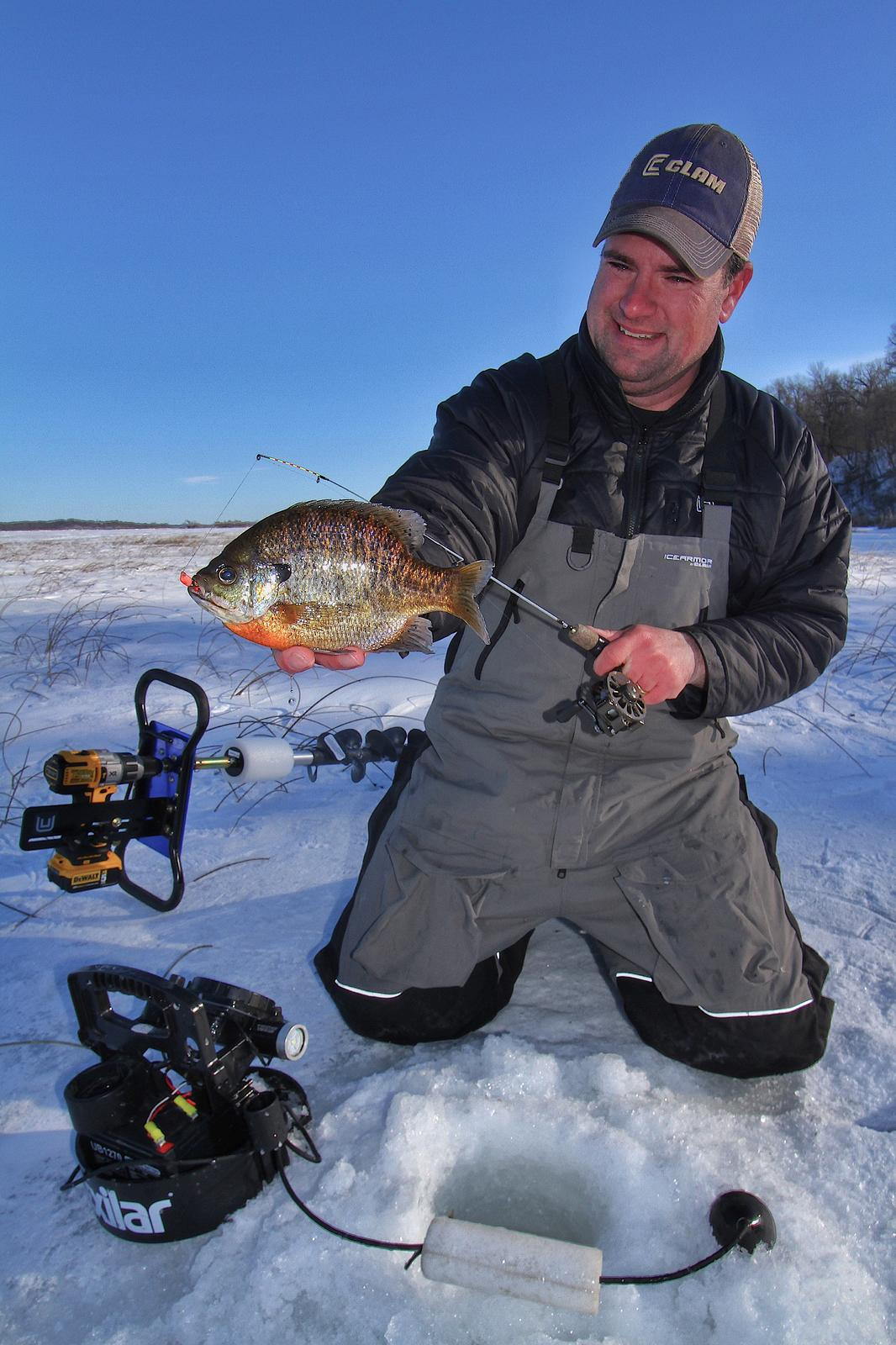 Pencil Reed Ice Fishing For Big Bluegills