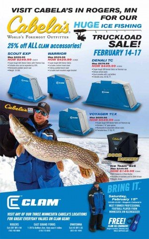 Clam Truckload Sale at Cabelas – Rogers, MN Feb. 14-17th