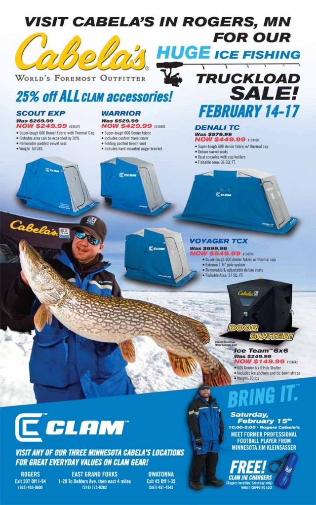 Clam truckload sale at cabelas rogers mn feb 14 17th for Cabela s fishing sale